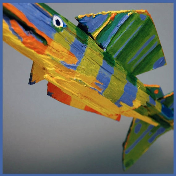 Colorful Whimsical Painted Wood Fish Art Yellow Blue Green