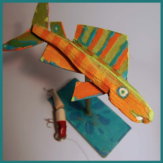 Whimsical Fish Art Colorful Orange Standing Table Top Decor - Handmade Original Recycled Painted Recycled Wood Fish Creation