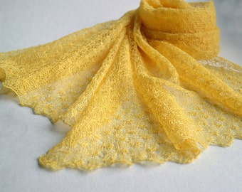 Linen Yellow Scarf Bridesmaids Shawl Wedding Stole Lace Scarf Knitted Wrap Sheer Stole Lemon Scarf Summer Scarf Gift Her Scarf