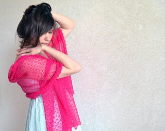 Hot Pink Linen Scarf Fuchsia Shawl Lace Stole Magenta Bridesmaids Scarves Pink Flambe Knitted Wrap