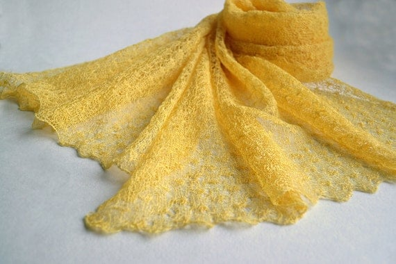 Linen Yellow Scarf Bridesmaids Shawl  Lace Scarf Knitted Wrap Sheer Stole Lemon Thin Summer Scarf
