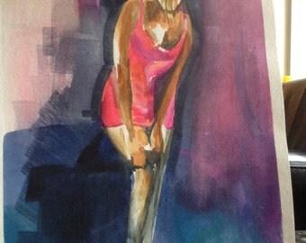 Lady in Pink Dress II