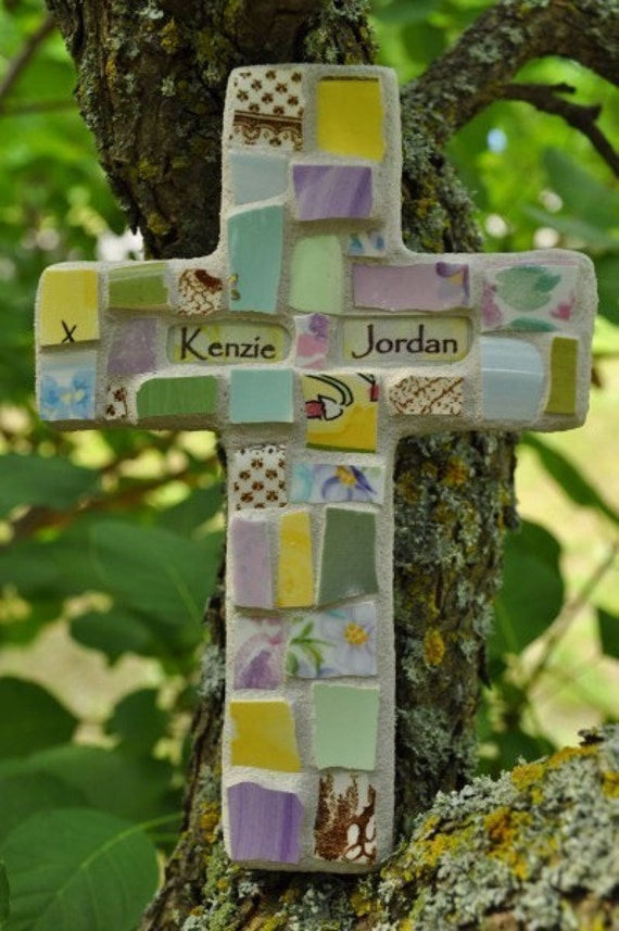 Personalized Mosaic Cross with Broken China and Stoneware MADE TO ORDER