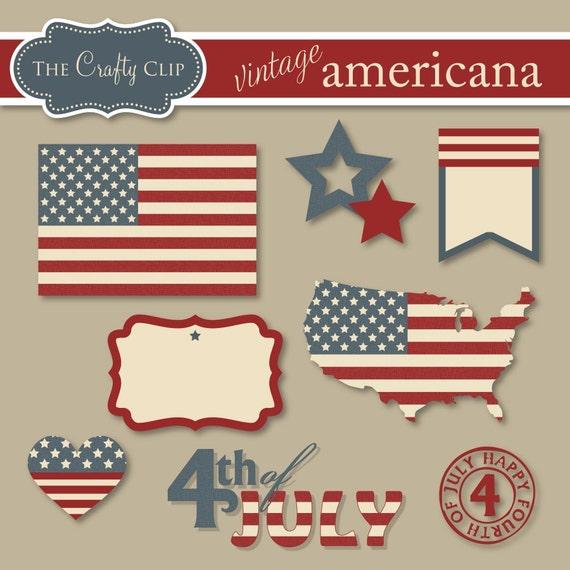 SALE Vintage Americana Clipart Set by TheCraftyClip on Etsy Vintage Americana Graphics