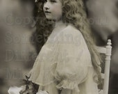 Rapunzel , Beautiful long haired Edwardian Girl, Vintage Photo, digital download