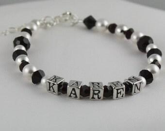 CUSTOM NAME Birthstone Sterling Silver Personalized Keepsake Bracelet for Little Girls