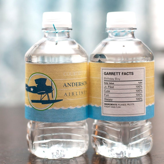 Custom Water Bottle Labels from the Vintage Airplane DIY Printable Birthday Party Collection by Spaceships and Laser Beams