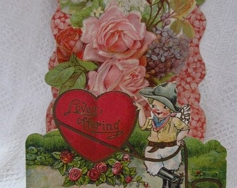 Victorian Embossed Stand Up Valentine's Day Card w/ Cowboy Cupid