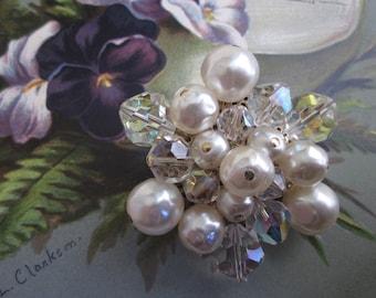 Vintage Pearl & Austrian Crystal Brooch