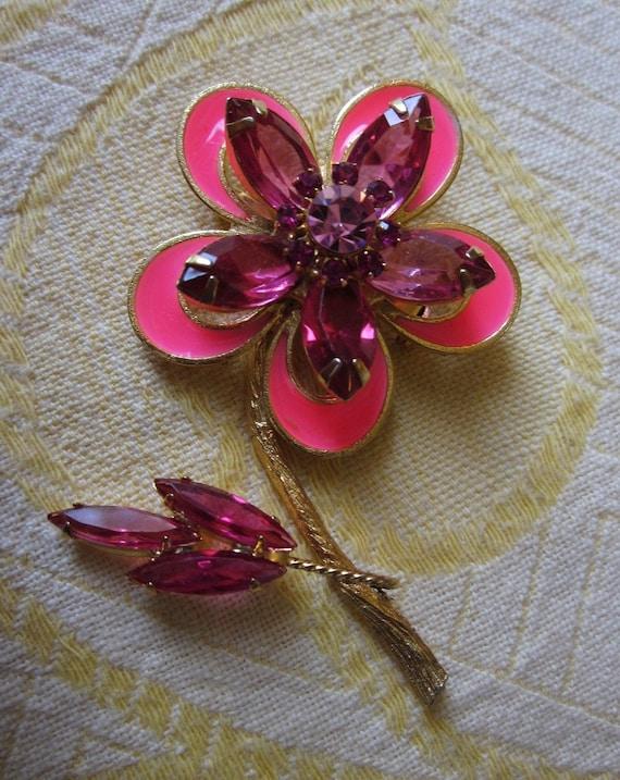 Vintage Flower Power Hot Pink Navette Rhinestone & Enamel Brooch