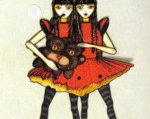 Siamese Twins Jointed Paper Doll