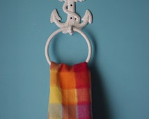 Cast Iron Anchor Towel Ring - PICK YOUR COLOR