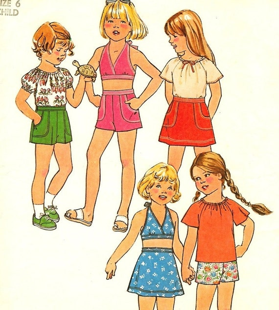 Vintage Girls Shorts Pattern , Skirt, Halter Top Simplicity 8040 Size 6 Ship FREE to US