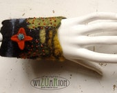 Hand felted Bracelet Cactus Succulent Cuff fiber art Ready to ship