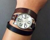 Wrap Watch-Women Watch-Vintage Watch-Men Watch-Friendship Bracelet Watch-Bracelet Watch-Brown Leather Watch-Wrap Leather Watch-Brown Watch