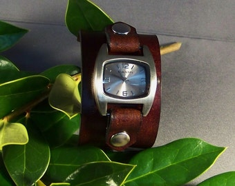 Brown Watch-Women Watches-Mens Leather Watch-Womens Leather Watch-Cuff Watch-Bracelet Watch-Friendship Gift-Wrist Leather Watch-Gifts