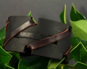 Black Leather Cuff-Brown Leather Cuff-Women Leather Cuff-Men Leather Cuff-Leather Bracelet-Thick Cuff-Wrist Bracelet-Friendship Bracelet
