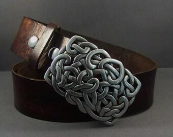 Leather Belt-Belt Buckle-Brown Belt-Men Belt-Women Belt-Buckle For Belt-Belt For Buckle-Celtic Belt Buckle-Silver Buckle-Gifts For Him-Gift