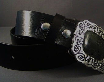 Black Leather Belt, Women's Leather Belt, Silver Buckle, Black Leather Strap, Snaps Leather Belt, Thick Leather Belt