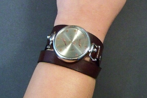 Wrap Around Leather Watch, Womens Watch, Leather Cuff Watch, Leather Bracelet Watch, Brown Leather Watch, Montre, Gifts, Jewelry