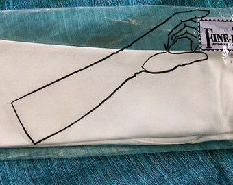 1960s Long White Fine-Fit Stretch Gloves size 7