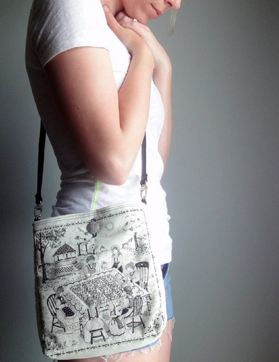 Upcycled Crossbody Bag, Eco-friendly Purse, Vintage Quilt Blocks Hip Bag