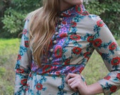 Vintage 1960's floral printed maxi dress
