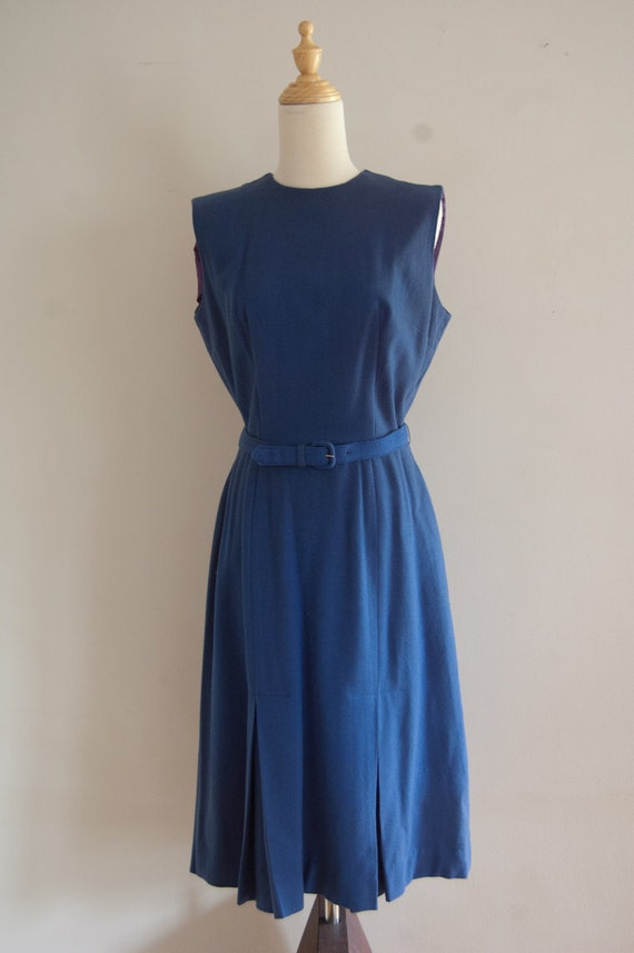SALE 1960s Puritan Forever Young dress / wool pleated blue sheath dress