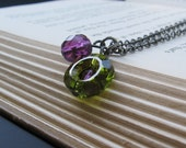 Morgan - Olivine Swarovski Crystal Ring and Czech Fire Polished Amethyst, Oxidized Silver Chain - NECKLACE