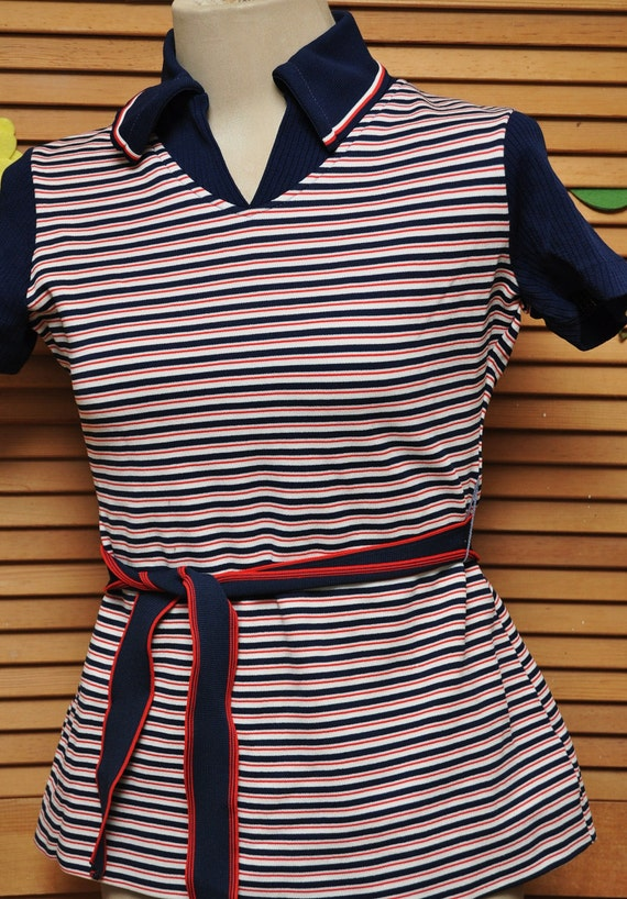 Vintage Blouse Red White and Blue Stripes 1960s with Matching Belt Ladies Womens