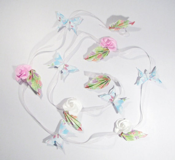 Butterfly Garland with Roses on Organza Ribbon - 1 Strand - Origami