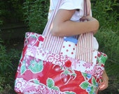 ChristinaBags Oilcloth Tote Bag Red Strawberries Medium Size