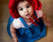 SUMMER SALE 12 to 24m Red Rose Baby Flower Bonnet, Rose Hat, Baby Girl Hat, Flower Girl Hat, Alice in Wonderland Rose Baby Hat Photo Prop