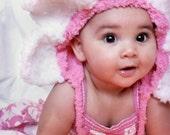 SALE 0 to 3m Baby Daisy Flower Hat, Newborn Pink Baby Hat, Baby Shower Gift Daisy Flower Bonnet Candy Pink White Petals Photo Prop