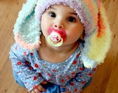 SALE 12 to 24m Toddler Bunny Hat, Toddler Boy Girl Baby Hat, Bunny Ear Hat, Toddler Bunny Beanie, Toddler Rainbow Hat, Toddler Baby Hat