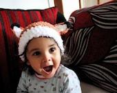 3 to 6m Woodland Fox Hat Baby Fox Animal Beanie  Crochet Baby Hat Orange White Baby Beanie Woodland Creature Animal Hat Photograpy Prop