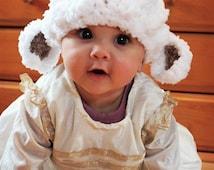 6 to 12m Baby Lamb Hat, Baby Sheep Hat, Easter Lamb Beanie, Baby Girl Hat, Crochet Lamb Hat Farm Animal Boy Hat, White Brown Lamb Photo Prop
