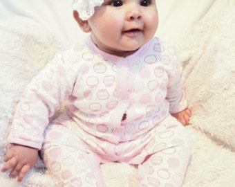 SUMMER SALE 3 to 6m Infant Crochet Flower Headband Baby White Headband - Rosette Flower Baby Headband Infant Prop Photo Prop Gift Costume