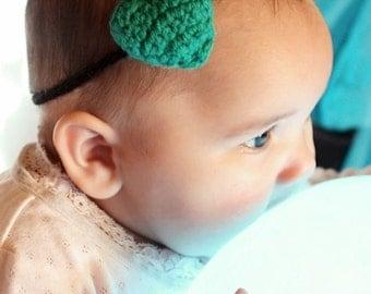 0 to 3m Newborn Heart Headband, Green Love Heart Baby Headband, Baby Skinny Headband, Green Heart Headband Baby Shower Gift Costume Cij