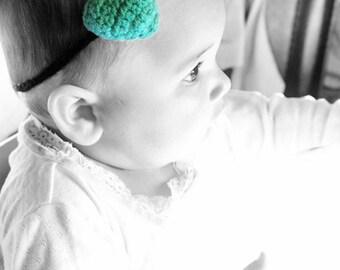 3 to 6m Baby Heart Green Headband - Crochet Love Heart Baby Headband Green Black Plush Skinny Headband Baby Prop Costume Photo Prop Cij