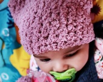 SALE 0 to 3m Newborn Kitten Hat, Newborn Girl Hat, Newborn Cat Hat, Plum Cat Beanie, Girl Baby Hat, Newborn Animal Hat Kitten Prop Baby Gift