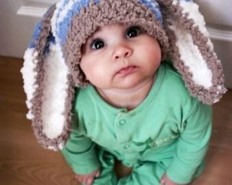3 to 6m Boy Baby Hat, Bunny Hat Blue Stripe Bunny Beanie, Easter Baby Hat, Brown Blue Cream, Bunny Costume, Rabbit Hat Boy Bunny Hat Cij
