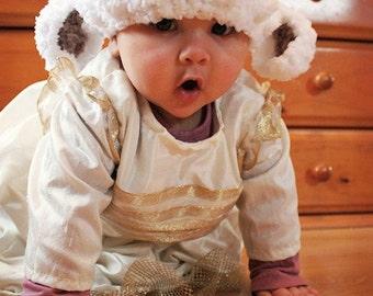 SALE 0 to 3m Lamb Hat Newborn Baby Lamb Beanie Baby Shower Gift - Crochet Baby Hat Farm Animal Hat White Baby Sheep Hat Prop Photo Prop Gift