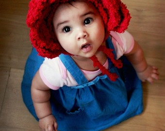 6 to 12m Baby Red Rose Flower Hat Baby Bonnet - Crochet Baby Hat Valentine Rose Pixie Flower Girl Baby Hat Prop Costume Photo Prop Gift