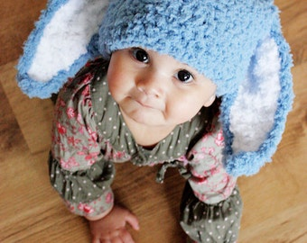 2T to 4T Blue Boy Hat Childrens Bunny Beanie - Crochet Hat Blue White Bunny Boy Toddler Hat Flopsy Bunny Rabbit Hat Photo Prop Costume Gift