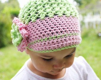 12 to 24m Toddler Girl Newsboy Hat Lime Baby Pink Toddler Hat Crochet Flower Hat Baby Flapper Hat Merino Brim Hat Photo Prop