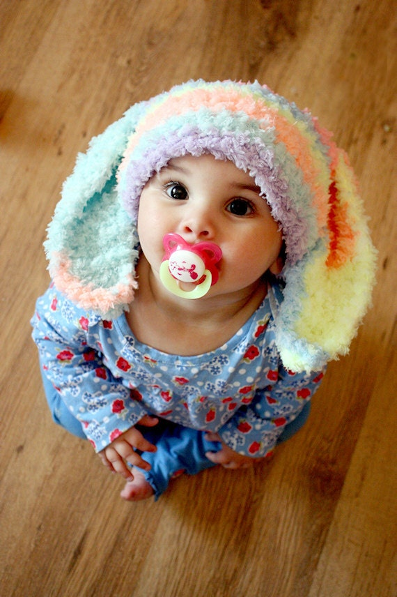 12 to 24m Toddler Bunny Hat, Rainbow Boy Girl Baby Hat Easter Bunny Ears, Toddler Bunny Beanie Rainbow Hat, Bunny Costume Baby Hat Gift