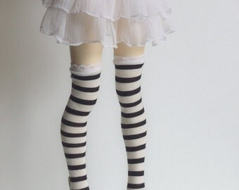 White and black striped high stockings for BJD