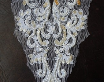 Cosplay or  Bridal Applique, vintage V-Neck center piece - beaded and sequined