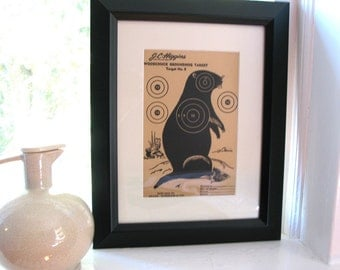 1950s pensive woodchuck or groundhog for wall art or shooting practice - black and tan